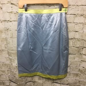 Escada Blue Green Silk Blend Pencil Skirt